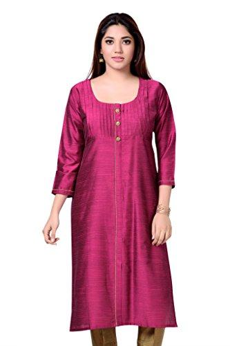 Studio Shringaar Long Pin Tuck Pink Cotton Silk Kurti