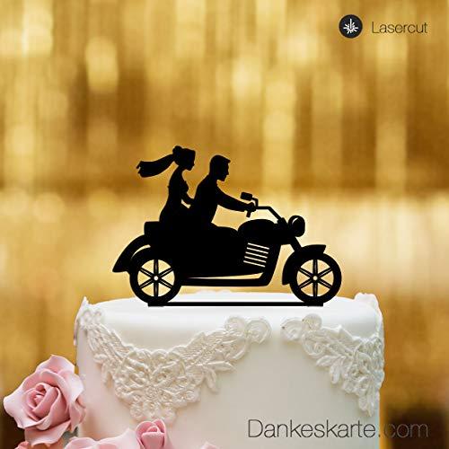 dankeskarte. com Cake Topper-Moto para Pastel de Bodas-Acrílico Cristal Negro-XL