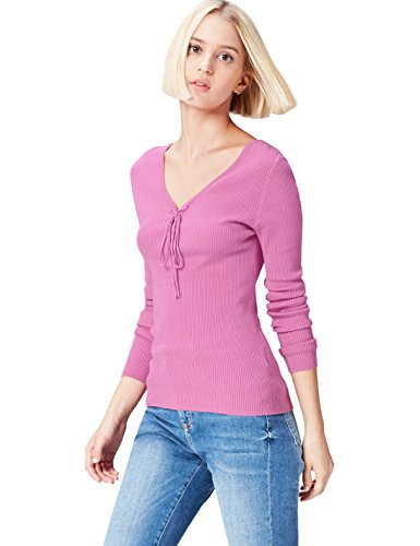 find. Pull Col V à Lacets Femme, Rose (Orchid), 40 (Taille Fabricant: Medium)