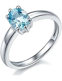 Joyería Hutang Plata Esterlina anillo de aguamarina 1.08ct genuino
