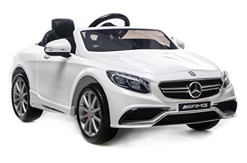 Mercedes Benz Licensed S63 AMG Kids Battery Powered Ride on Car with Parental Remote Control LED Lights Music (WHITE)