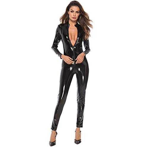 71eee067f NPRADLA Women's Sexy Black Pvc Spandex Shiny Catsuit Costume Fashion Sexy  Leather Bodysuit Lace Lingerie Jumpsuit