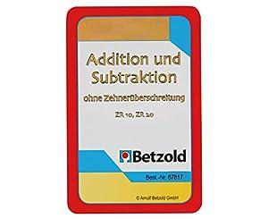 Betzold - 48 cartas de suma / resta para 20 sin exceder decenas, matemáticas, juego de cartas, números de juego, en un plástico resistente y robusto