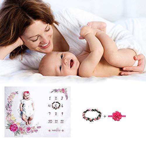 Aus Kostüm Haushaltsgegenstände - smileyshy Baby Foto Requisiten, weiche fotografische Hintergrund Decke Baby monatliche Decke Kranz Bouquet Stirnband
