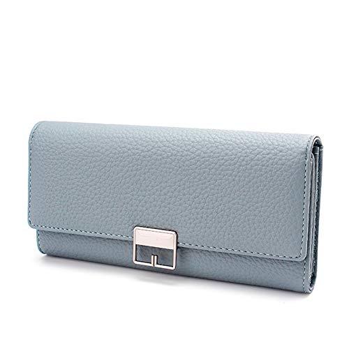 SUNYUEWALLET Schnalle Clutch Bag Lange Stil PU Leder Damen Wallet Clutch,Blue -
