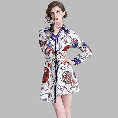 QUNLIANYI Ballkleid Lang Damen Tüll Vintage Kette Print Kragen Asymmetrische Shirt Kleid Frauen Langarm Verband Selbst Gürtel Kurze Shift Gerade Kleid XL - Kette-kragen-shirt