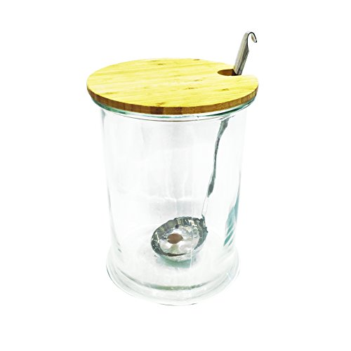 Saveur et Degustation KA1574 Bocal Boisson 5L ET LOUCHE, Bois/INOX/Verre, Transparent/Marron, 19 x 19 x 30,5 cm