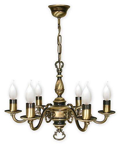 Kroneleuchter mit Kette , 6 flammig Deckenlampe , Lampe in Gründerzeit Stil , Deckenleuchte von...