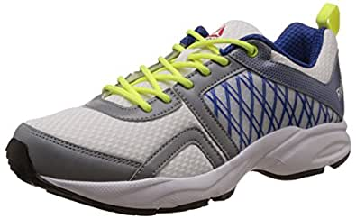 Reebok Men's Smooth Flyer 2.0 White, Flat Grey, Blue, Neon Yellow and Black Running Shoes - 11.5 UK