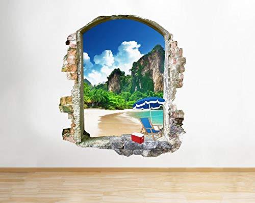 Wandtattoo Strandurlaub Picknick Landschaftsfenster Wandtattoo 3D-Kunst Aufkleber Vinyl Room
