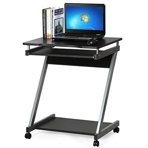 Popamazing Computer Desk Z-Shaped w/ Sliding Keyboard PC Table Furniture Home Office Study Black