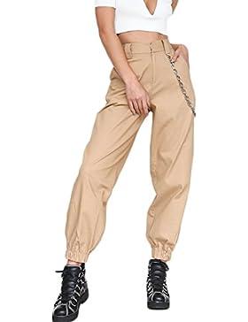 Yacun Mujeres Casual Pantalones De Harén Pantalones Hip Hop Jogger con Cadena