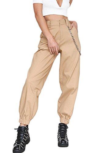 YACUN Damen Cargo Hosen Hip Hop Jogger Street Hose mit Kette Pants Jogginghose Khaki L -