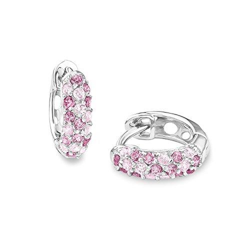 Prinzessin Lillifee Mädchen-Creolen aus 925 Sterling-Silber mit Zirkonia in rosa (Trauer Schmuck)