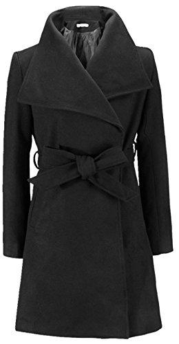 Blansdi 2016 Mode élégant Femme Col napoléon Long Manteau Longue Mince Parka Toison avec Ceinture Veste Trench Coat Chaud Hiver