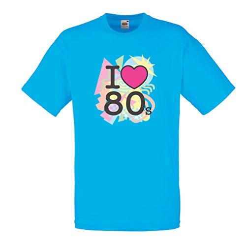 Männer T-Shirt Ich liebe 80er Konzert t-shirts Weinlese Kleidungs Musik t-shirts geschenke (X-Large Blau (Kostüm Biker Weiblich)