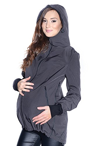 Mija - 3in1 Tragejacke für Babytrage, Umstandsjacke, Jacke Softshell 4068 (EU40 / L, Grau)