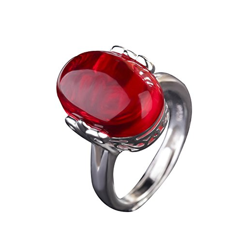 3 Ruby Ring (Red Gem Ruby Anniversary Ring Comfort Fit Wedding Band Ring)