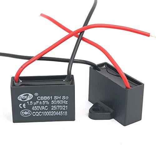 DollaTek 2Pcs CBB61 1.5uF 450 V AC 50/60 Hz Klimaanlage Lüfter Motor Laufkondensator -