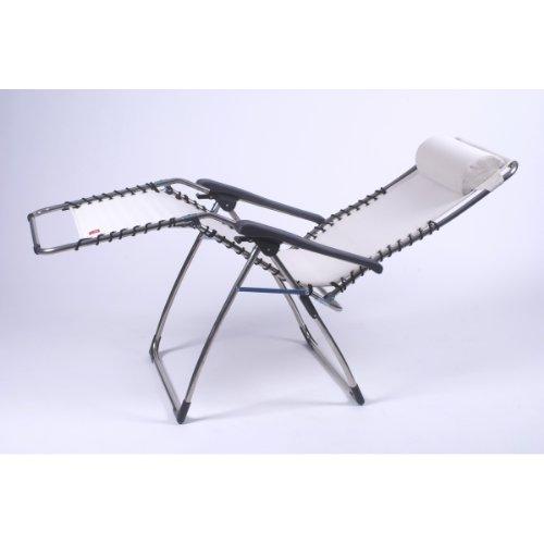 fiam 029TX BIBE Fauteuil Inclinable de Jardin Aluminium Blanc/Beige 66,5 x 155 x 82 cm