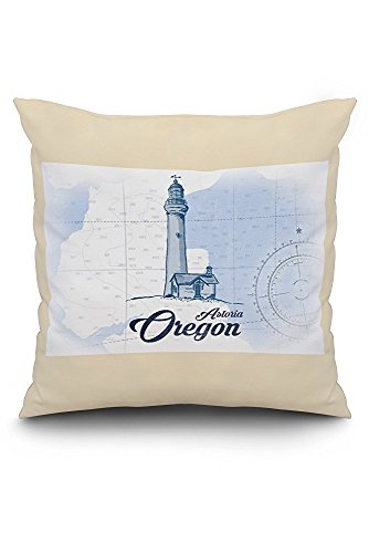 Astoria, Oregon - Lighthouse - Blue - Coastal Icon (20x20 Spun Polyester Pillow Case, White Border)
