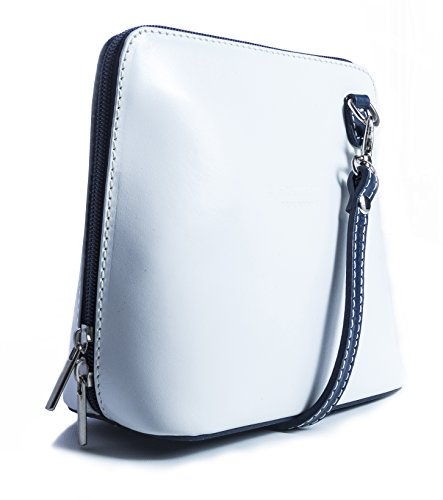 Big Handbag Shop, Borsa a tracolla donna Bianco (White - Navy Trim)