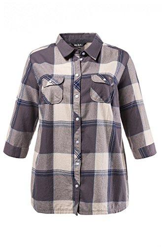 Ulla Popken Femme Grandes tailles Chemise à carreaux 706186 Granite