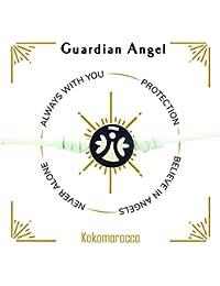 Kokomorocco Pulsera ángel de la Guarda Plata esmaltado Cordón Elástico, Regalo Ideal