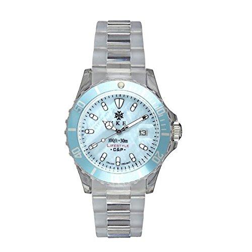 Ike BR005 - Reloj con correa de piel para hombre, color azul/gris