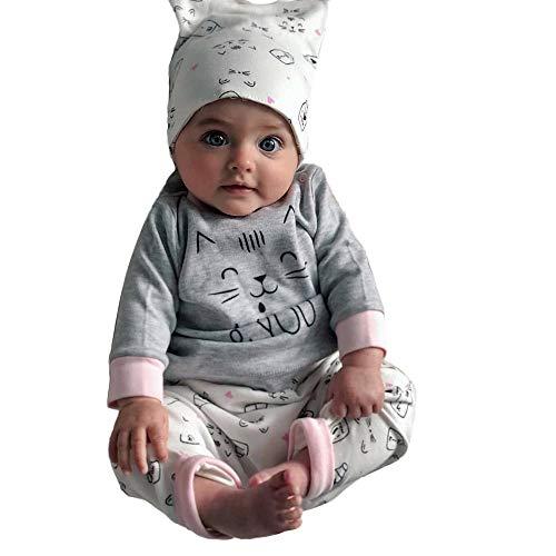 cinnamou Netter Satz 3pcs, Baby-Mädchen-Jungen-Karikatur-Katzen-Druck Pullover Tops + Pants Long Hose + Hat Set