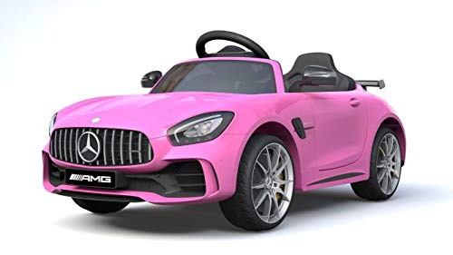 Ricco Mercedes Benz GTR AMG Licenced Two Motors Battery Powered Kids Electric Ride On Toy Car (PINK)