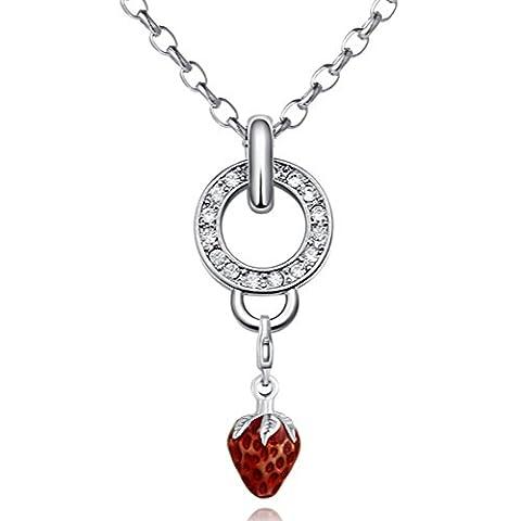 Morella Edelstahl Charm Halskette 70 cm und rotem Charm Anhänger Erdbeere in Samtbeutel - Fragola Collana