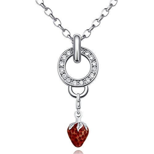 Morella Edelstahl Charm Halskette 70 cm und rotem Charm Anhänger Erdbeere in Samtbeutel Drache Charm Bead