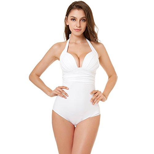 Aikuyo Einteilige Schwimmanzug Damen, One Piece Push-up Schwimmrock Damen, Tief V Badeanzug Strandkleidung, Schwarz, Weiß, Rot. -
