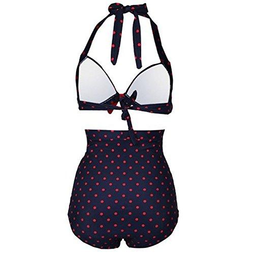 Gigileer 50's Damen Frauen Badeanzug Bademode Bikini Set - Hohe Taillen -Neckholder - bauchweg XXXL -