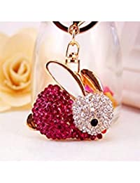 Banggood ELECTROPRIME Crystal Keyring Charm Pendant Bag Key Ring Chain Keychain Dark Red Rabbit
