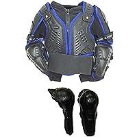 Motorrad Körper Rüstungen XTRM Kids Offroad Motocross Motorrad Körperpanzer Blau + Klapp Knie 6 Jahre Schwarz