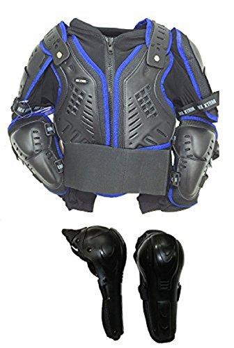 Motorrad Körper Rüstungen XTRM Kids Offroad Motocross Motorrad Körperpanzer Blau + Klapp Knie 12 Jahre Schwarz