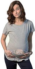 Bold N Elegant Women's Half Sleeve Cute Sneak Peek Child Printed Pregnancy Maternity T-Shirt Top Tee