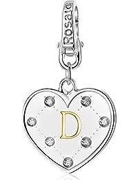 5616c592ae Rosato charm cuore iniziale lettera D AL004 in argento 925 con particolari placcato  oro 18kt e