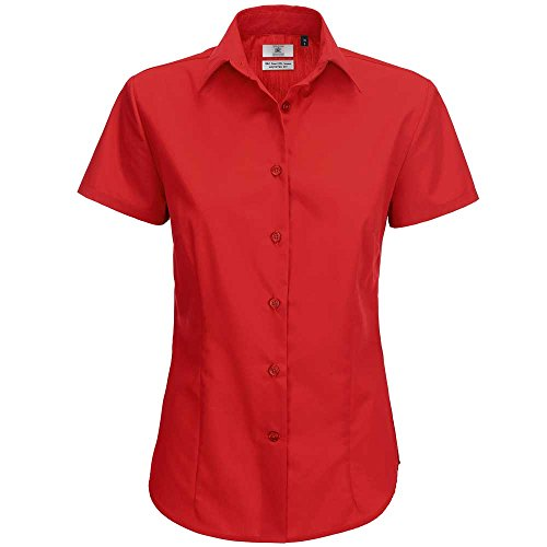 B&C Collection Womens Smart Short Sleeve Shirt Deep red