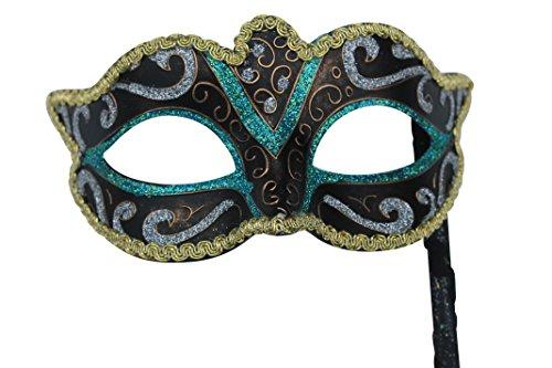 Grün Schwarz Silber Bronze und Gold venezianische Maskerade Partei Karneval Maske mit ()