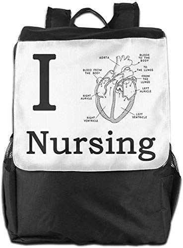 I Love Nursing Nurse School Funny Doctor Mujeres Hombres Laptop Travel Backpack College School Bookbag Black