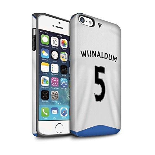 Offiziell Newcastle United FC Hülle / Matte Harten Stoßfest Case für Apple iPhone SE / Doumbia Muster / NUFC Trikot Home 15/16 Kollektion Wijnaldum