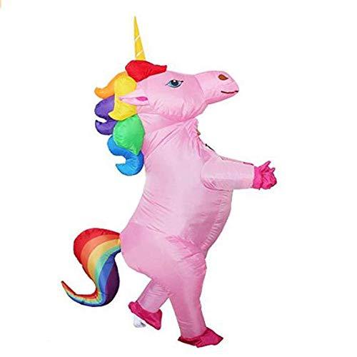 yuangong Unicornio Hinchable Disfraz Arcoiris Pony Caballo Bella y Coloridos Elegante Vestido con Hinchable Abanico Inflable Trajes para Adultos