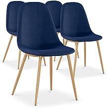 Pack de 4 sillas nórdicas Gao en tela azul