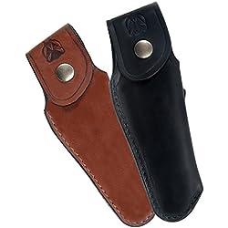 Laguiole Actiforge - Etui cuir pleine fleur pour couteau Laguiole - Fabrication Française Artisanale - Noir - Sans Fusil