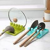 LATKALO Kitchen Spoon Holders Fork Spatula Rack Shelf-Organizer Plastic Spoon Rest Chopsticks Holder-Spoons Pad Kitchen Utens