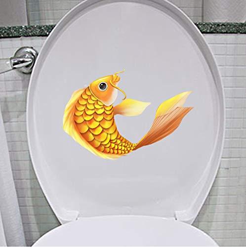 Wandaufkleber Goldene Koi Wc Aufkleber Schlafzimmer Wohnkultur Moderne Cartoon Fisch 21,1 * 17 CM (1 beutel / 2 sätze) - Wc Koi