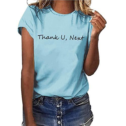 Yvelands-Damen Tops T-Shirt Mädchen Plus Size Print Shirt Kurzarm Bluse Tops(Hellblau1,XXL)